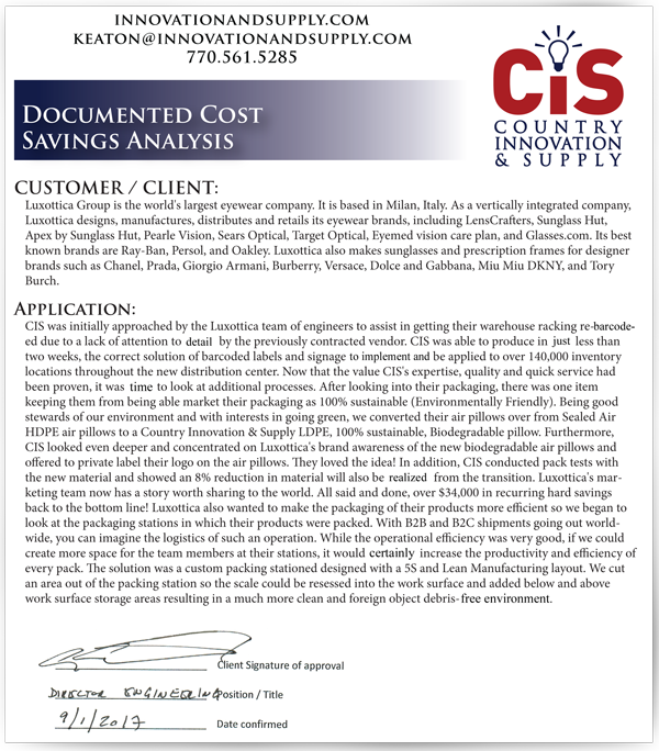 Luxottica Documented Cost Savings