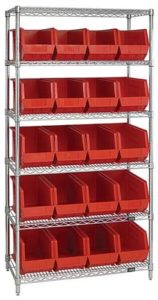 Quantum storage systems stackable bins with five shelf wire rack.