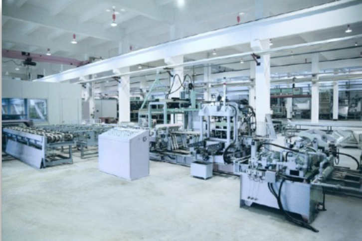 Interior of a factory in white