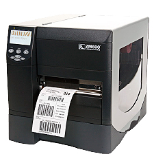 Zebra thermal transfer label printer.