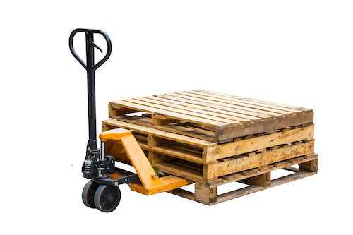 Hand forklift with pallets isolated on a white background