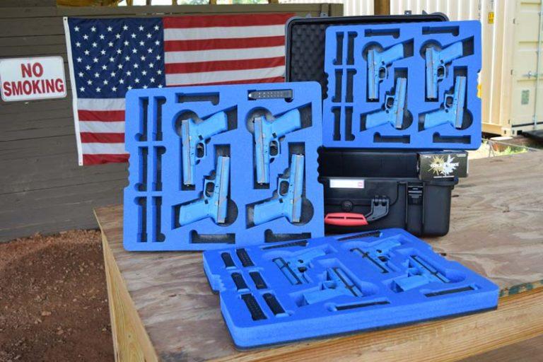 Die cut foam pack with guns installed