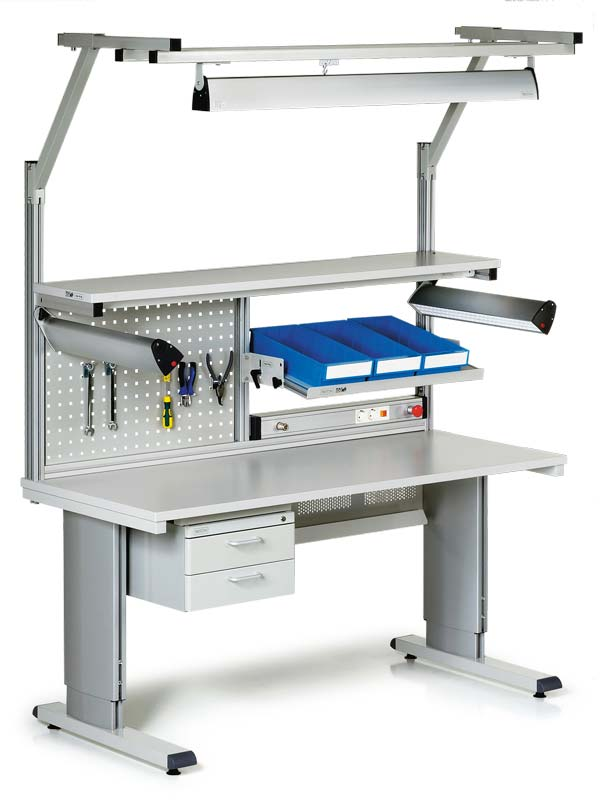 Production workbench, high tech, in gray
