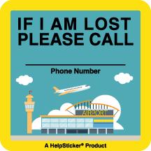 Helpsticker - lost child sticker - airport