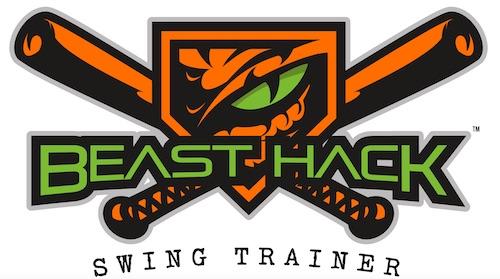 Beast Hack Logo Beast and baseball bats Orange black and green