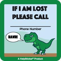 Helpsticker - lost child sticker - dinosaur